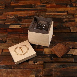 Personalized Cigar Holder Whiskey Glass With Personalized Coaster and Wood Box
