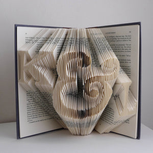 Personalized Folded Book Page Art- Initials
