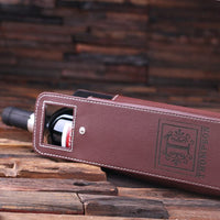Personalized Leather Wine Bottle Holder