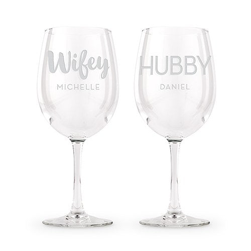 Personalized Wine Glasses- Wifey and Hubby
