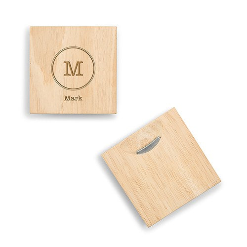 Personalized Wood Coaster With Bottle Opener