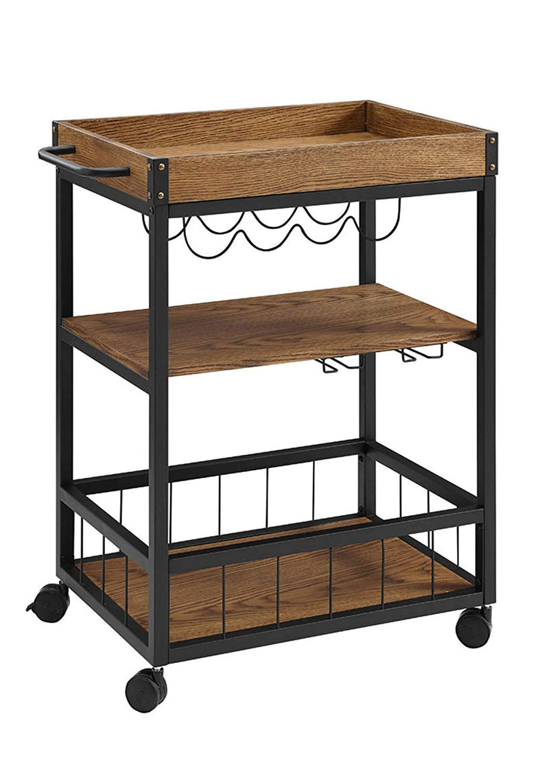 Rustic Wood Bar Cart