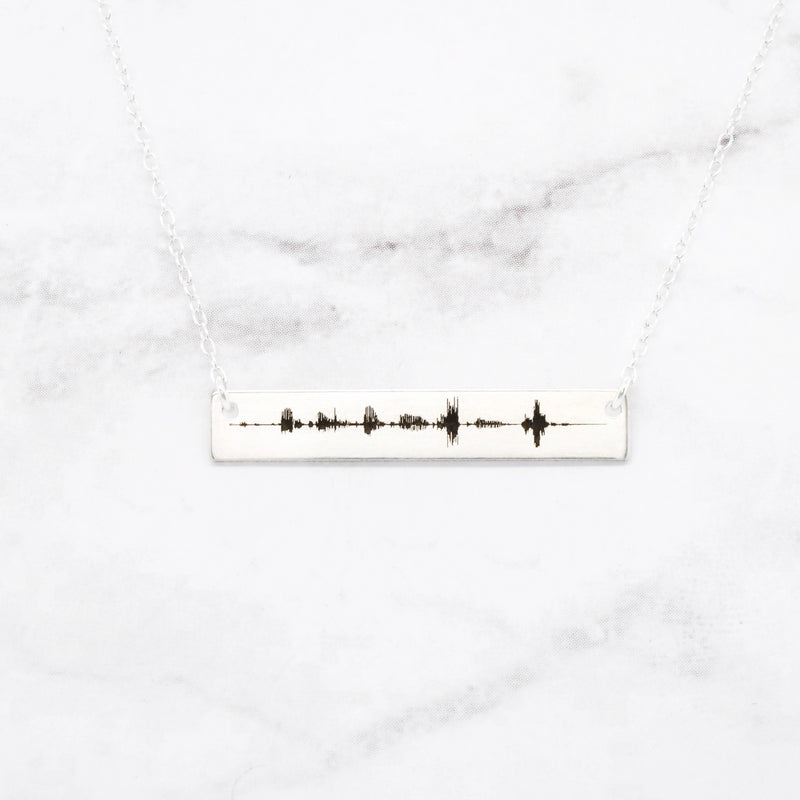 Silver Soundwave Necklace 25th Anniversary Gift
