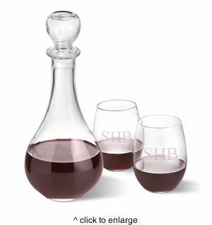 Wine Decanter Set With Personalized Stemless Wine Glasses