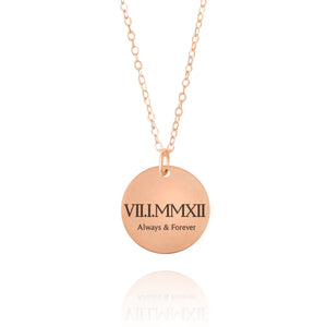 Roman Numeral Copper Disc Necklace 7th Anniversary Gift