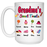 Grandma Nana's Sweet Treats Personalized Ceramic Coffee Mugs Special Edition