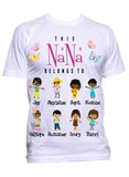 This Nana Grandma Grandpa Belongs to Personalized Relaxed Tee with Grandkids names Up to 18 Kids