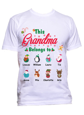 This Grandma Nana Belongs to Personalized T-Shirts Christmas Special Edition Any Nickname up to 30 Kids