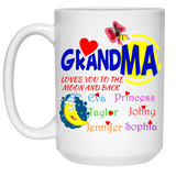 Grandma Loves You to the Moon and Back Personalized Ceramic Coffee Mugs