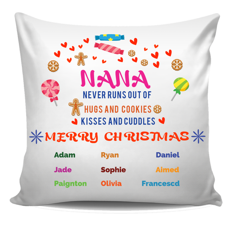 Grandma Never Runs Out of Hugs and Cookies Personalized Pillow Cover Christmas Special Edition