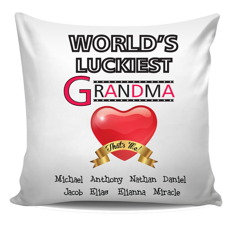 World's Luckiest Grandma Nana Personalized Pillow Cover