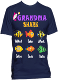 Nana Grandma Shark Personalized Relaxed Tee with Grandkids names Up to 18 Kids