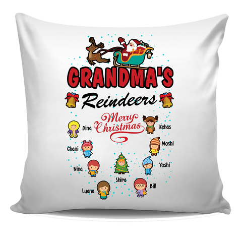 Grandma's Reindeers Personalized Pillow Cover Christmas Special Edition