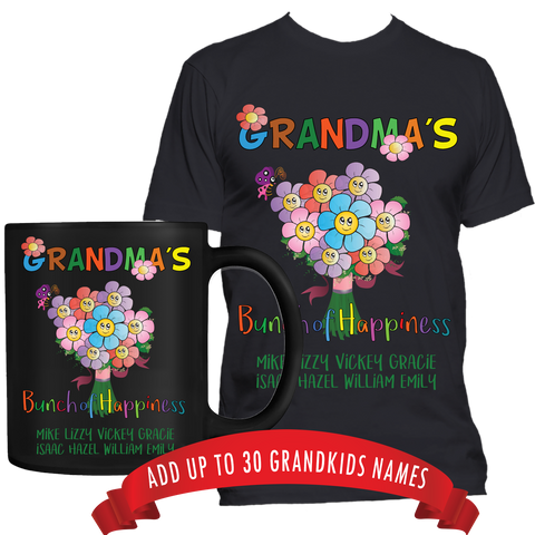 Bunch of Happiness T-Shirt and High Quality Ceramic Coffee Mug Both Sides Print ***Bundle Offer***