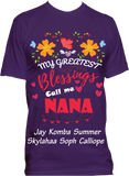 My Greatest Blessings Call Me Grandma Nana Personalized Relaxed Tee with Grandkids names Up to 18 Kids