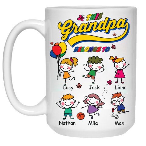 This Cool Grandpa Belongs to High Quality Ceramic Coffee Mug Both Sides Print