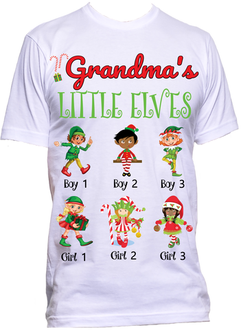 GRANDMA LITTLE ELVES RELAXED TEE***ANY NICK NAME*** Up to 18 Kids CHRISTMAS DAY SPECIAL