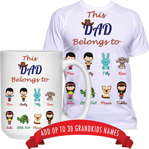 This Dad Grandpa Belongs to T-Shirt and High Quality Ceramic Coffee Mug Both Sides Print ***Bundle Offer***