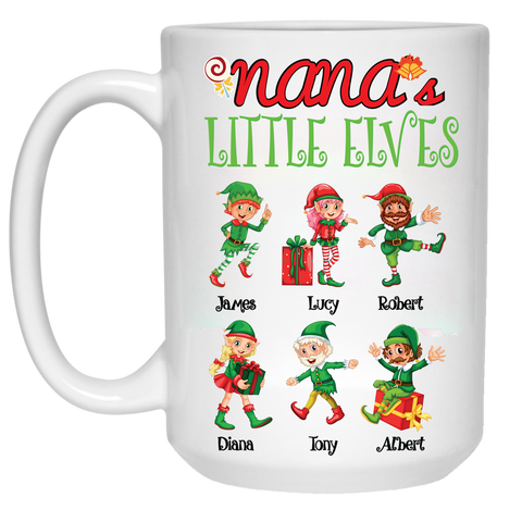 Grandma Nana Little Elves Personalized Ceramic Coffee Mugs Christmas Special Edition