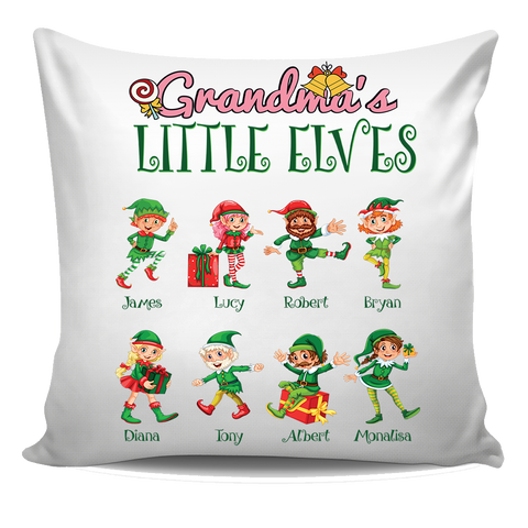 Grandma Nana Little Elves Personalized Pillow Cover Christmas Special Edition