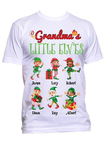 Grandma Nana Little Elves Personalized T-Shirts Christmas Special Edition Any Nickname up to 30 Kids