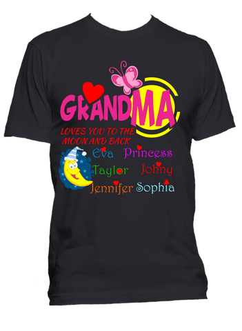 1a7a6d4df Grandma Loves you to the moon and back Personalized T-Shirts Hoodies Sale  70%
