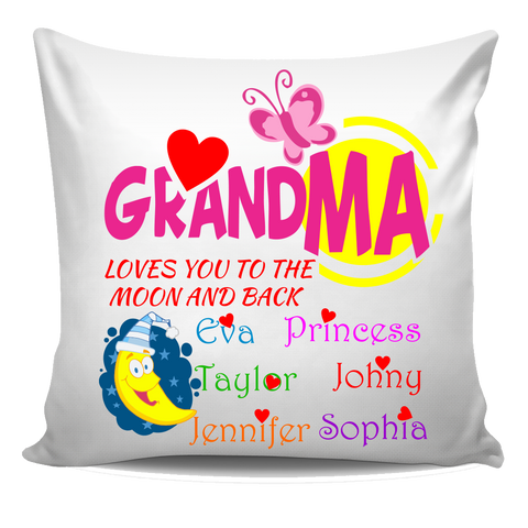 Grandma loves you the the moon and back Personalized Pillow Cover