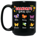 Grandma's Butterfly Kisses Personalized Ceramic Coffee Mugs Special Edition