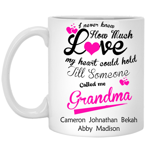 I Never Knew How Much Love My Heart Could Hold Personalized Ceramic Coffee Mugs