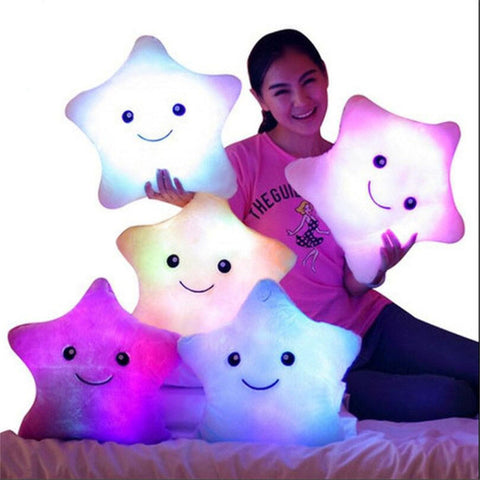 Star Led Light Pillow Star Luminous Pillow Light Valentine's Day Gift Stuffed Cartoon Plush Kids Birthday/Xmas Gift Pillow Sleep