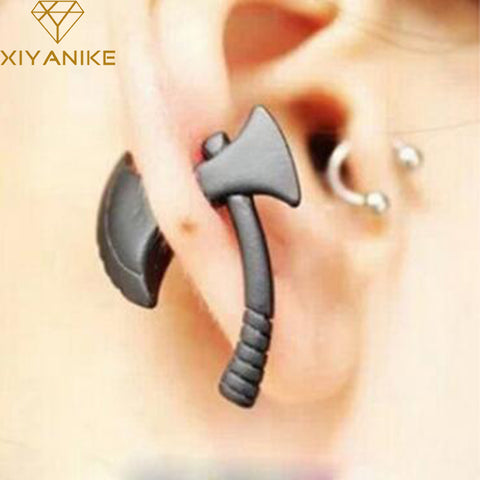 1pc Personality Punk Nickel Free Black Ax Hatchet Mens Womens Stud Earring Fashion Piercing Jewelry Accessories XY-E284