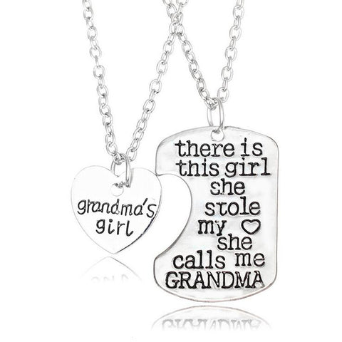 I Love You Grandma Necklaces Pendants Grandson Family Love,2016 Fashion Retro Zinc Alloy Granddaughter Necklace Chrismas Gifts
