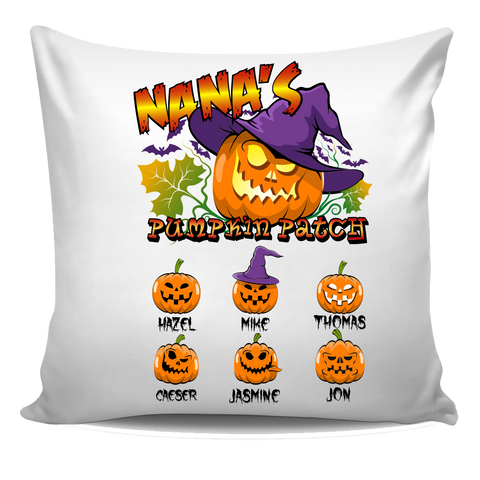 Nana's Pumpkin Patch Halloween Special Personalized Pillow Cover