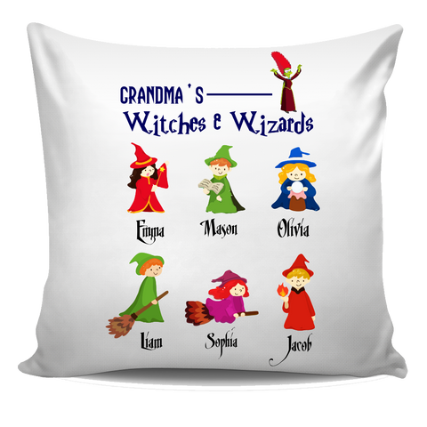 Nana Grandpa Wizards and Witches Halloween Special Personalized Pillow Cover