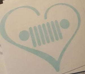 Jeep Grill Heart Decal
