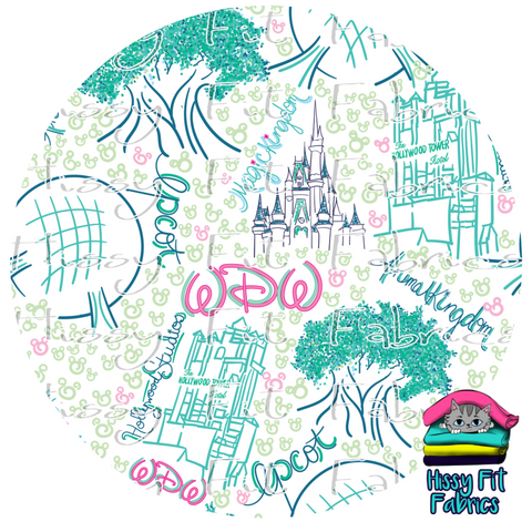 Vacation Mode - Pretty Parks White - Vinyl -  DO NOT COMBINE WITH FABRIC ORDERS