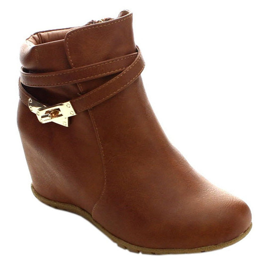 2722660a1e43 OLIVIA K Women s Comfy Almond Toe Platform Hidden Wedge Ankle Bootie C –  shopoliviak.com