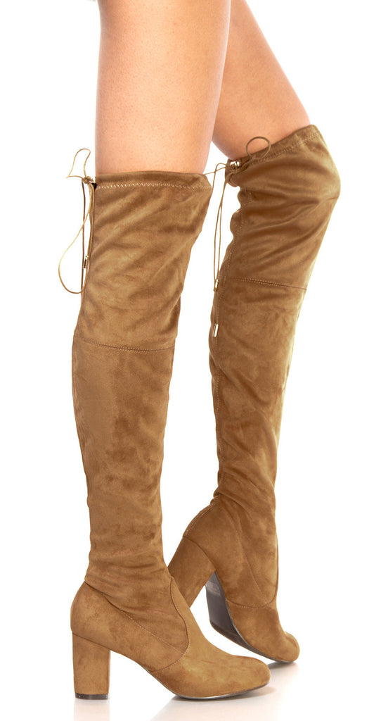 price reduced later best choice OLIVIA K Womens Thigh High Boots Over The Knee Party Stretch Block Mid Heel  Size Camel