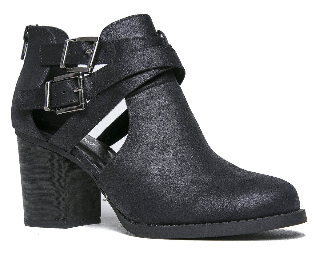 1ec90fde679 OLIVIA K Women's Ankle Bootie With Low Heel And Cut-Out Side Black –  shopoliviak.com
