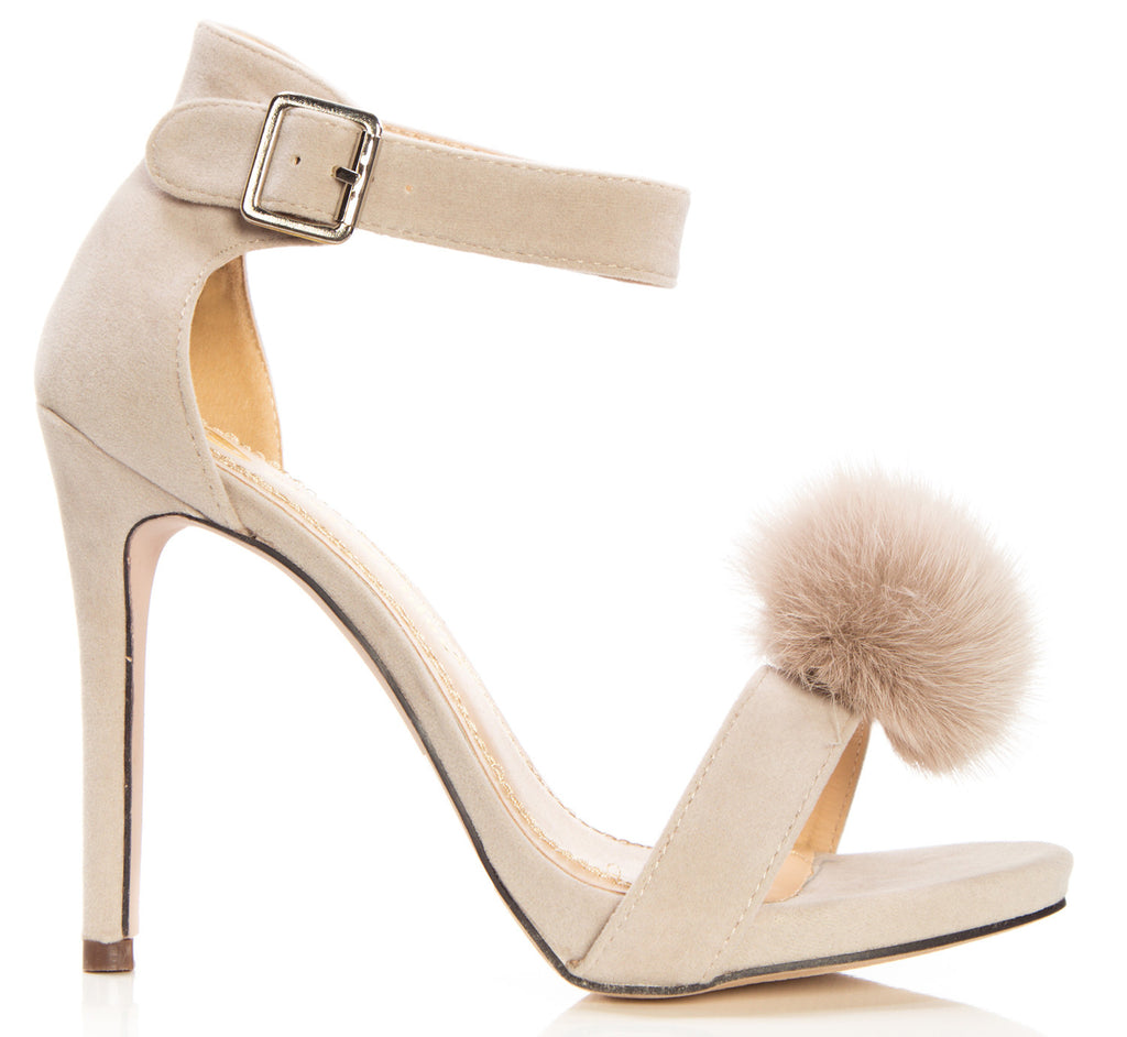 9da022032d ... Nude · OLIVIA K Women's Platform Pom-Pom Single Band Ankle Strap High  Heel Suede Sandals ...
