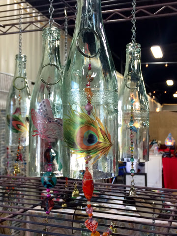WindChimes-Glass-Bottle-Feather-Handcrafted