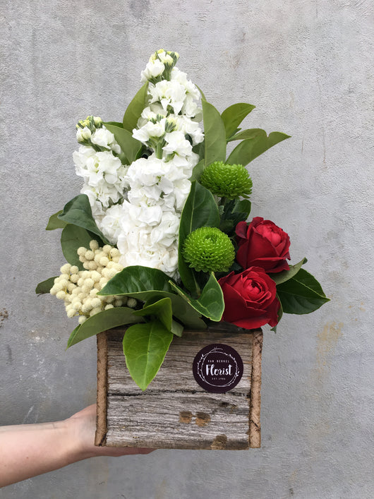 Wooden box Christmas arrangement