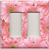 Double Rocker Decora Light Switch Cover in Fun Light Pink Daisies/Daisy Spring Flowers