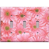 Triple Toggle Light Switch Cover in Fun Light Pink Daisies/Daisy Spring Flowers