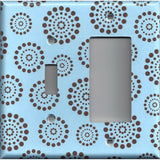 Combo Toggle Light Switch and Rocker Decora Cover in Light Blue Chocolate Brown Starburst Polka Dots