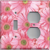 Combo Light Switch and Outlet Cover in Fun Light Pink Daisies/Daisy Spring Flowers