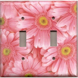 Double Toggle Light Switch Cover in Fun Light Pink Daisies/Daisy Spring Flowers