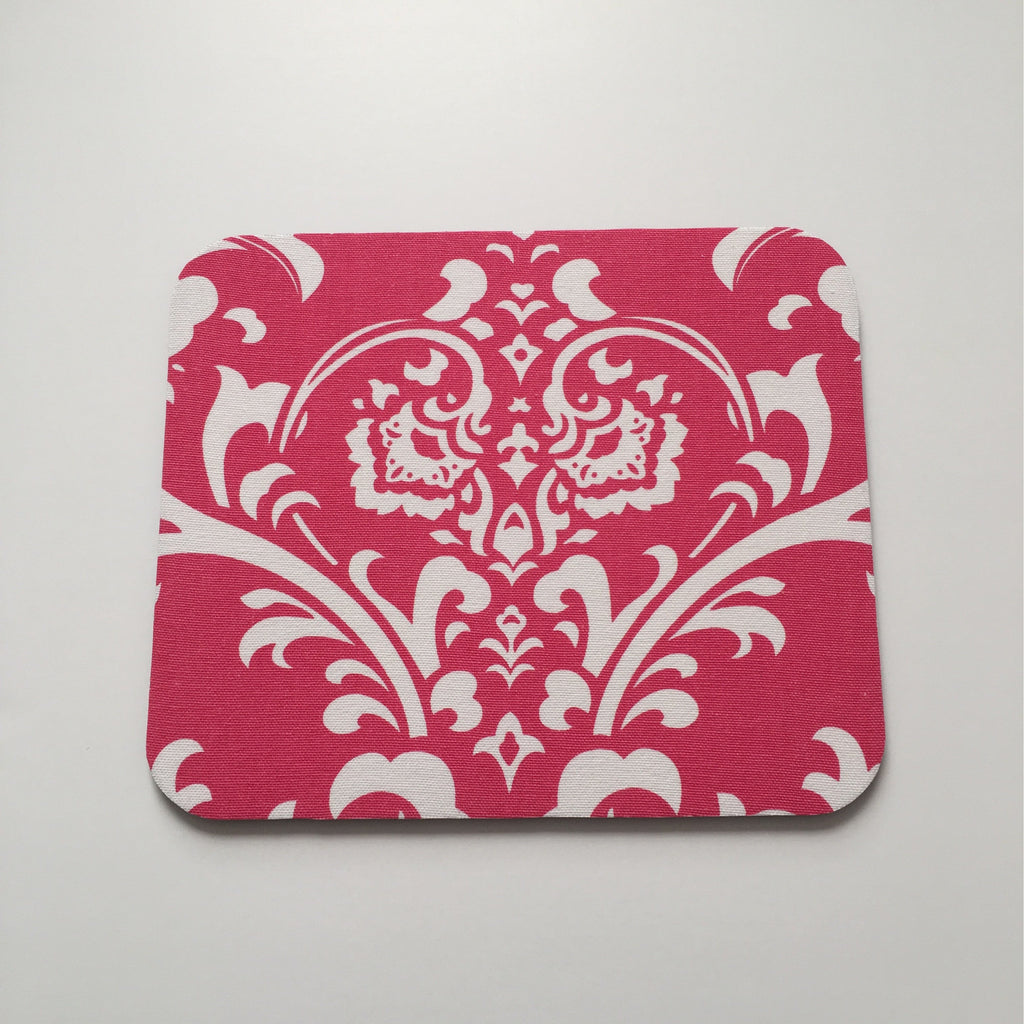Hot Pink and White Damask Mouse Pad High Quality Office Desk Decor