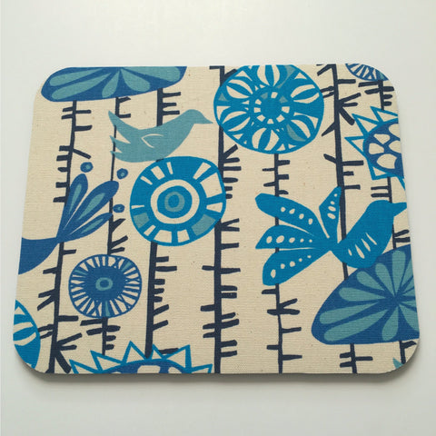 Blue Flowers & Birds Boho Chic Mouse Pad- Handmade Home Decor- Simply Chic Gal