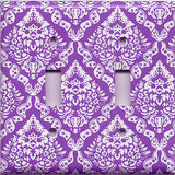 Bright Purple/Violet & White Intricate Damask Floral Double Toggle Light Switch Cover